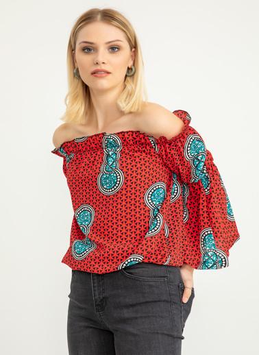 Foremia Kolu Volanlı Madonna Yaka Desenli Bluz Kırmızı